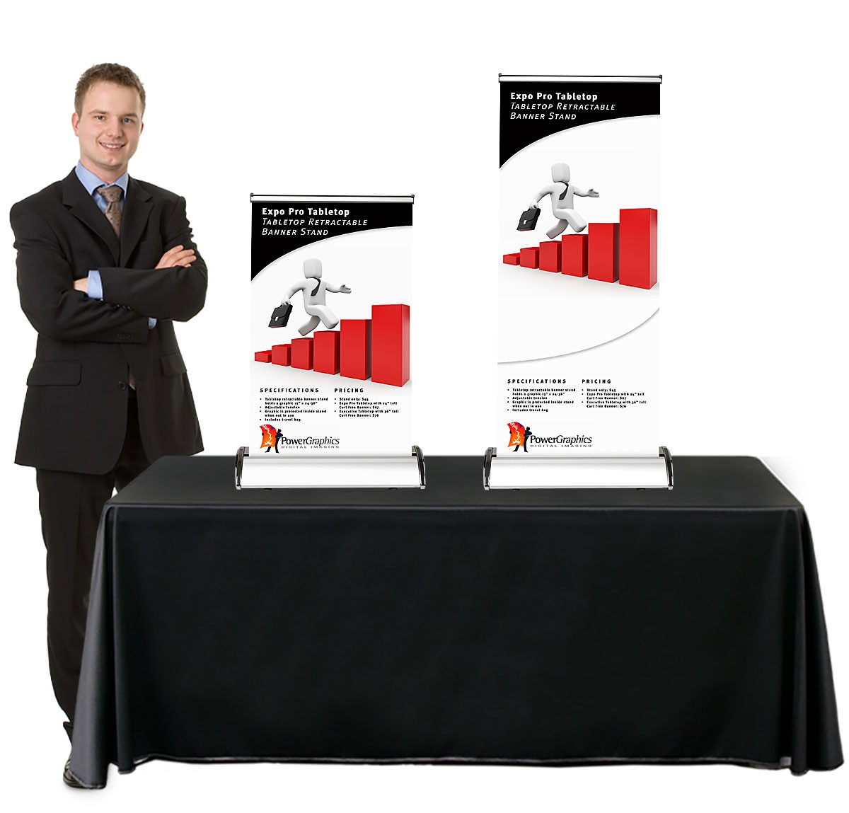 Expo Banner Stands : Expo pro table top retractable banner stand