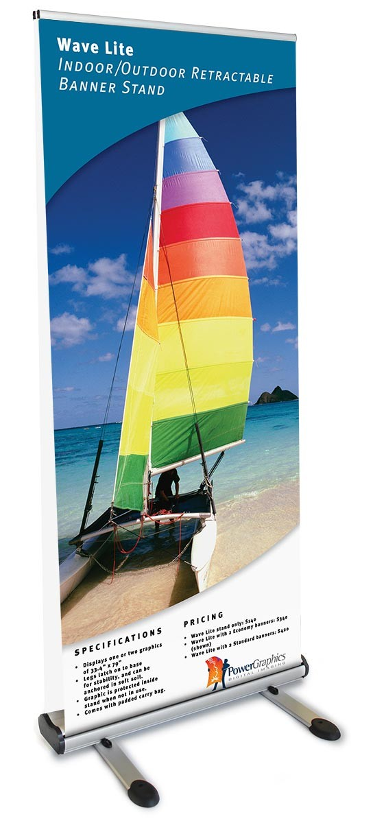 Wave Lite Double Sided Retractable Outdoor Banner Stand