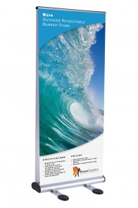 Wave Double Sided Retractable Outdoor Banner Stand